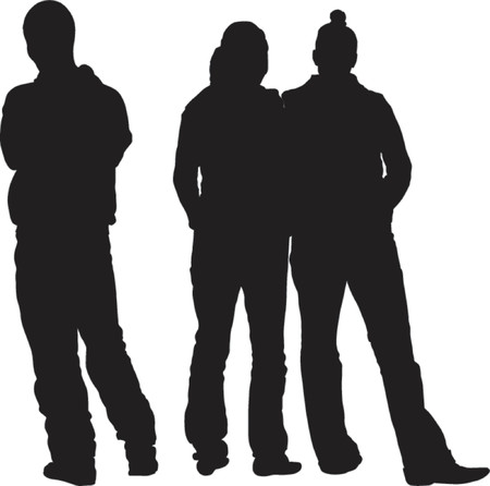 TEENAGERS - SILHOUETTES - Dark image outlined against a white background Illustration