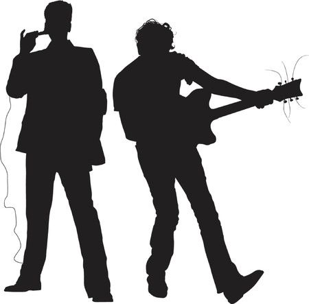 CONCERT - MUSICIANS - SILHOUETTES - Dark image outlined against a white background Stock Vector - 866316