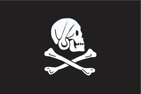 Pirates flag - skull & bones on black background - simple flag - Vector