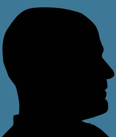 head and shoulders: Mans Head Silhouette Created In Photoshop Stock Photo