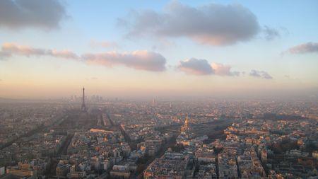 Paris at the sunset - Panoramic image