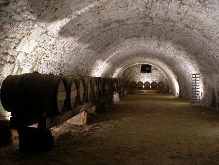 wine cellar - an old cellar of a traditional wine producer in France