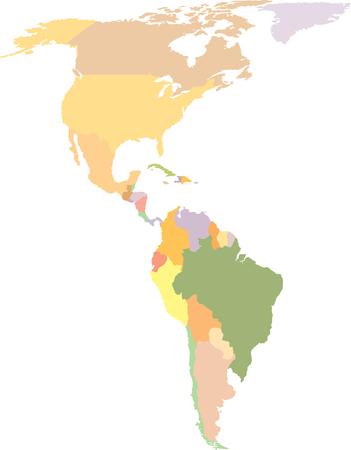 Amerika Kaart - Noord-en Zuid-Amerika - Vector Vector Illustratie