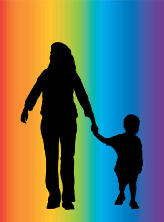 mather: Mather and son - Silhouette - Black image outlined against a rainbow pattern background - Vector