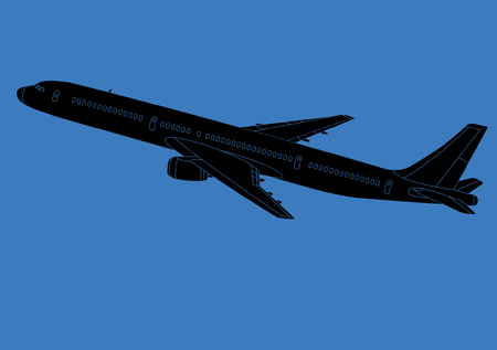 Airplane - Silhouette - Black image outlined against a blue background - Vector