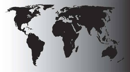 oceania: Vector World Map - Africa, America, Asia, Europe and Oceania - Black on shaded gray background Illustration