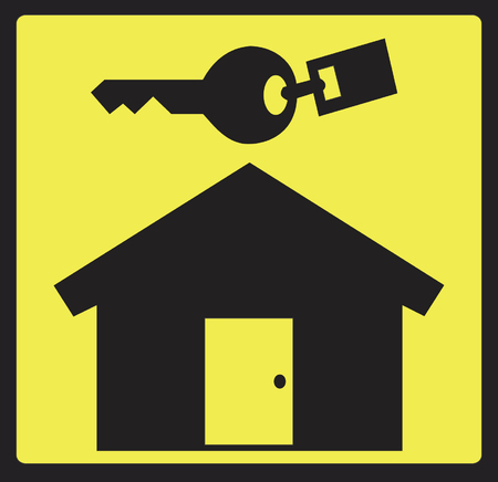 Real Estate Logo - Black house and key on yellow background Vector