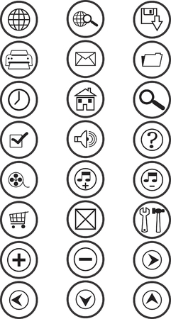 Website and Internet icons - black and white series Vector