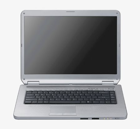 Laptop isolated - Silver portable computer. Isolated black screen - Front view