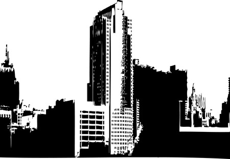 CITY GRAPHICS - CITY SKYLINE MONOCHROME IMAGE Vector