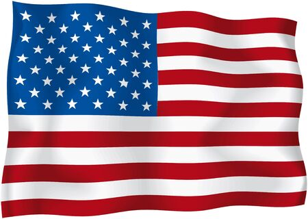 USA - American flag - American wavy flag isolated on white background Stock Photo
