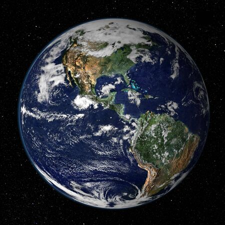 Earth Model: USA View - High resolution 3D render of planet earth