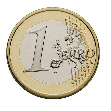 european union currency: Moneda de un euro - moneda de la Uni�n Europea Foto de archivo