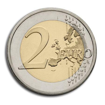 european union currency: Moneda de dos euros - moneda de la Uni�n Europea Foto de archivo