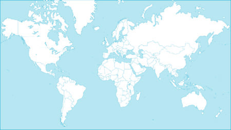 world map - Continents on blue background