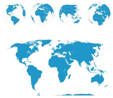 Globes and World Map . Illustration