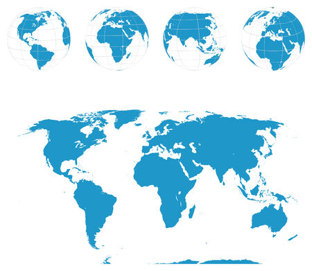 Globes and World Map . Stock Vector - 7172046