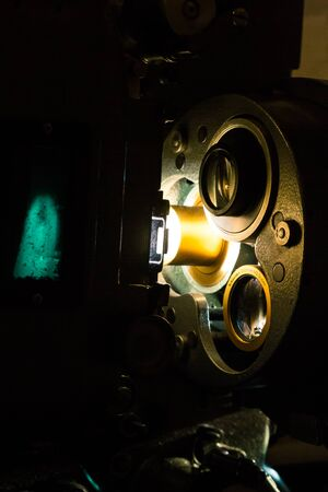 Old vintage film projector close-up in a cinema projection room