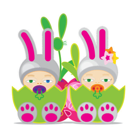 Babies and easter egg to fertility of nature in the spring