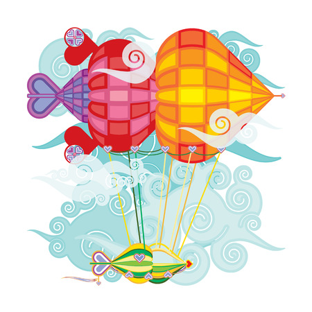 cutie: Bright colorful hot air balloons