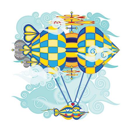 Bright colorful hot air balloons Vector