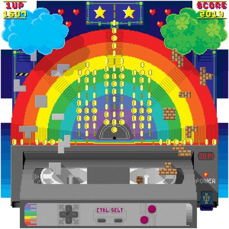 Enjoy the fantasy world of tech eight-bit pixel art  Illustration