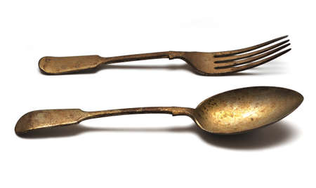Isolated old fork and spoon photo