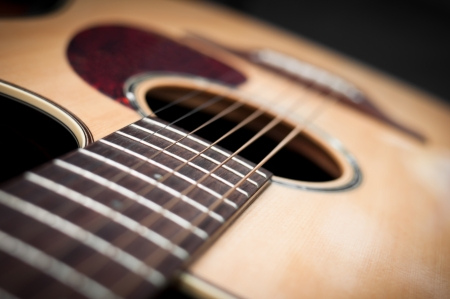 Close-up guitar body with sound hole and strings photo