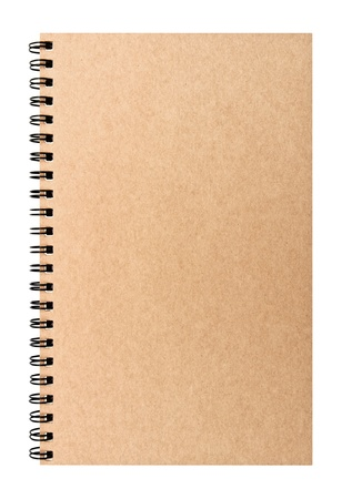 Isolated hard-cover brown notebook with clear space Stock Photo - 14041594