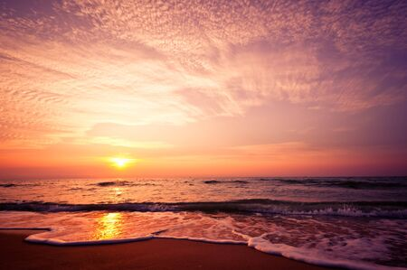 Beach in Cha-am, Thailand. Shooted in the morning with amazing sunrise sky. 版權商用圖片
