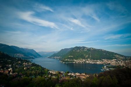 Panorama view of Como city with lake Como, Italy.