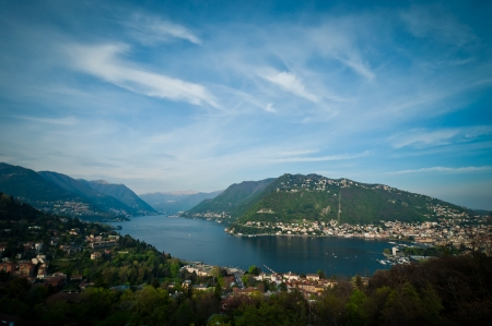 lake como: Panorama view of Como city with lake Como, Italy.