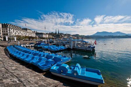 lucerne: lake Lucerne with port and boat, Lucerne, Switzerland Stock Photo