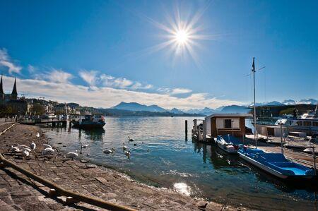 Luzerni-tó a port és a csónakot, Lucerne, Svájc Stock fotó - 14693972