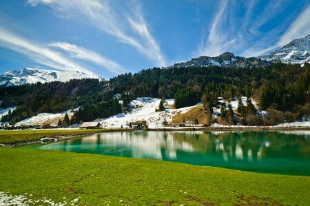 Lake Eugenisee with Urner alps range background, Obwalden, Switzerland