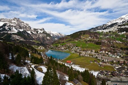 Samll town with lake Eugenisee  in Engelberg, Obwalden, switzerland