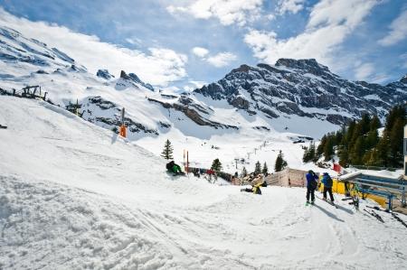 Urner Alps, Obwalden, Switzerland. With some Skier. 版權商用圖片