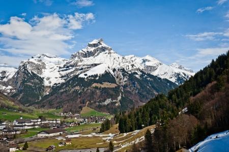 european alps: Urner Alps with mount Hahnen in Engelberg, Obwalden, Switzerland Stock Photo