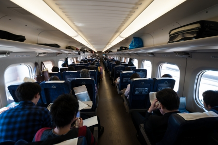 Osaka, Japan - March 29, 2012: Inside the passenger train (Non-reserved car) of