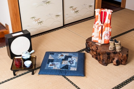 Set of Japanese room decoration photo