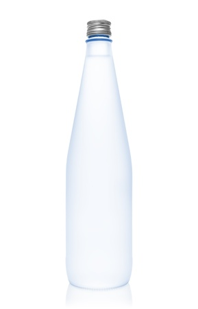 opaque: Isolated blue glass water bottle on white background