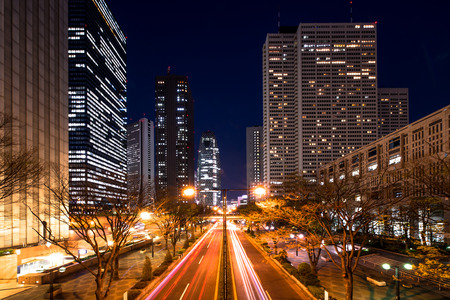 Office area of Shinjuku at night photo