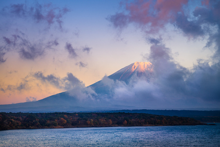 Mount Fuji and lake Motosu (Motosuko) in Yamanashi, Japan
