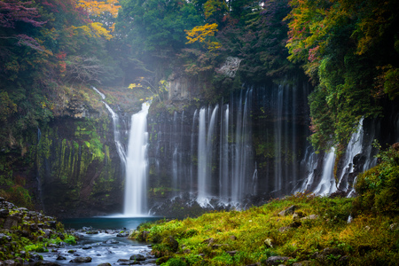 Autumn scene of Shiraito waterfall in the southwestern foothills of Mount Fuji, Shizuoka, Japan Stock Photo