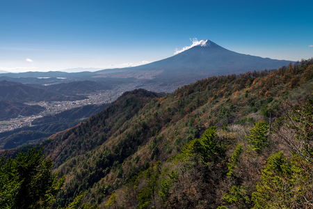 Mount Fuji and Fujiyoshida city, view from Mount Mitsutoge, Yamanashi, Japan