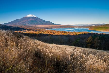 Mount Fuji and lake Yamanaka (Yamanakako) from Fuji Panoramadai viewpoint in the morning, Yamanashi, Japan
