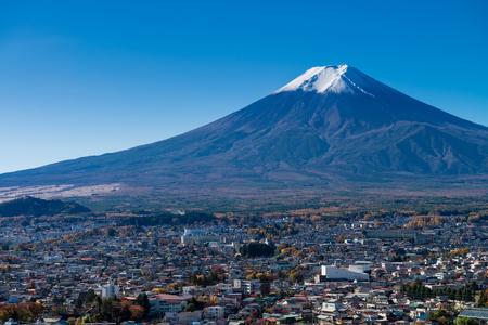 Mount Fuji and Fujiyoshida city from Arakurayama sengen park, Yamanashi, Japan.
