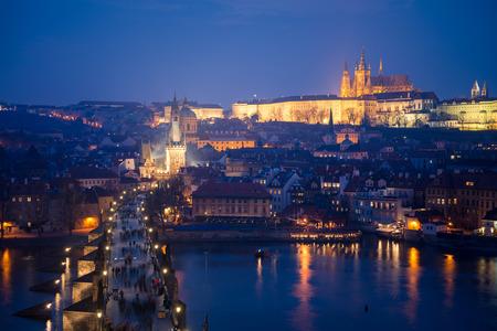 Night cityscape of Charles bridge and Prague Castle, Czech Republic