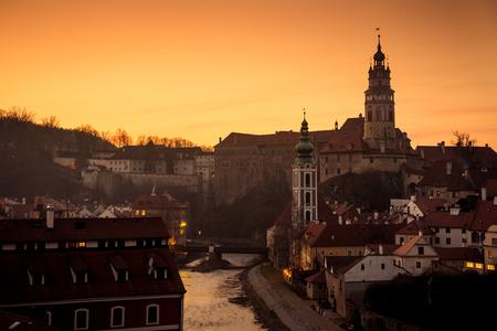 Evening at Cesky Krumlov city with Castle  and Vltava river, Czech republic 版權商用圖片 - 70591479