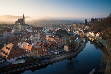 Morning at Cesky Krumlov city and Vltava river, Czech republic